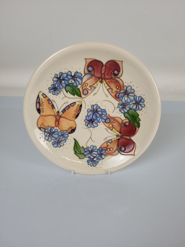 "Moorcroft ""Butterfly"" plate, designed by Rachel Bishop, 26cm diameter."