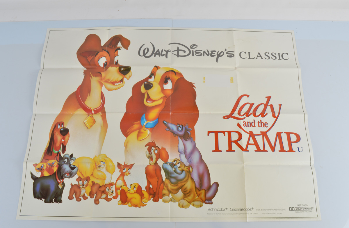 Six Walt Disney film posters, Condorman, Candleshoe, Lady and The Tramp quad (first time in Dolby