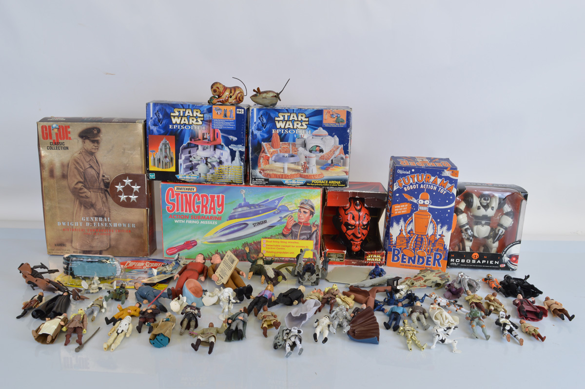 A good mixed lot of assorted TV related toys, including Star Wars Micro Machines sets, Matchbox