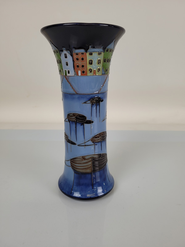 """Moorcroft Vase """"Bobbing Boats"""", by Paul Hillditch. 25cm tall with red spot to base."""