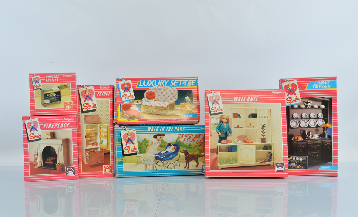 Seven boxed Pedigree Sindy accessories, including Luxury Settee, Fireplace, Fridge, Dining