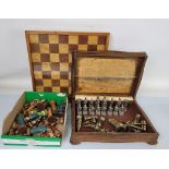 A quantity of assorted chess sets, comprising four board, mostly wooden and four pieces sets
