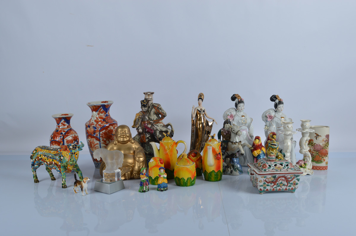 """A good mixed lot of assorted ceramics, including A Franklin Mint Erte limited edition figure """"Isis"""","""
