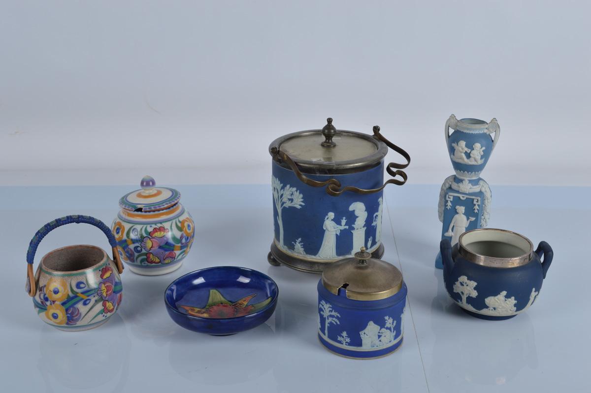 A mixed lot of English ceramics, including a Moorcroft dish, a silver mounted Adams jasperware