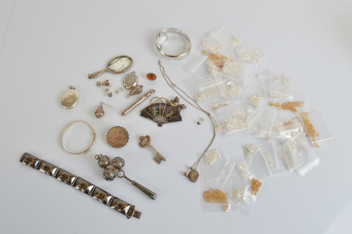 A collection of silver and white metal jewellery, including a quantity of contemporary silver and