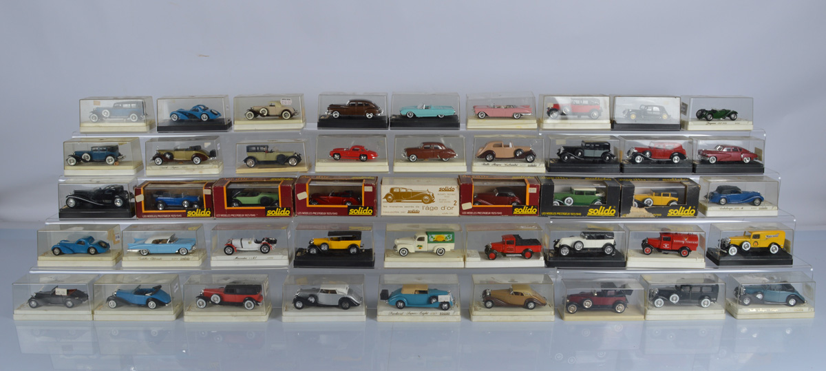 A good collection of thirty five Solido diecast models, all contained in plastic display cases (35)