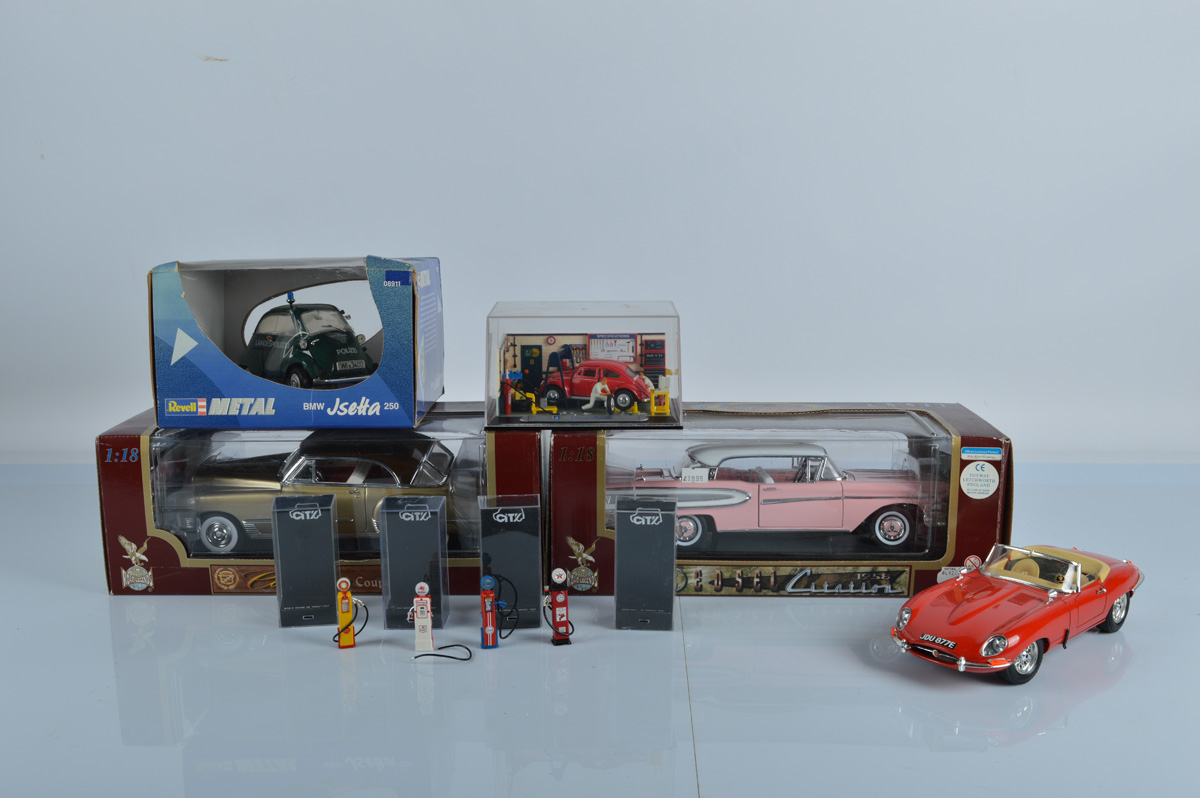 Two 1:18 scale Road Legends diecast models, both boxed. Together with a Revell Metal 08911, a