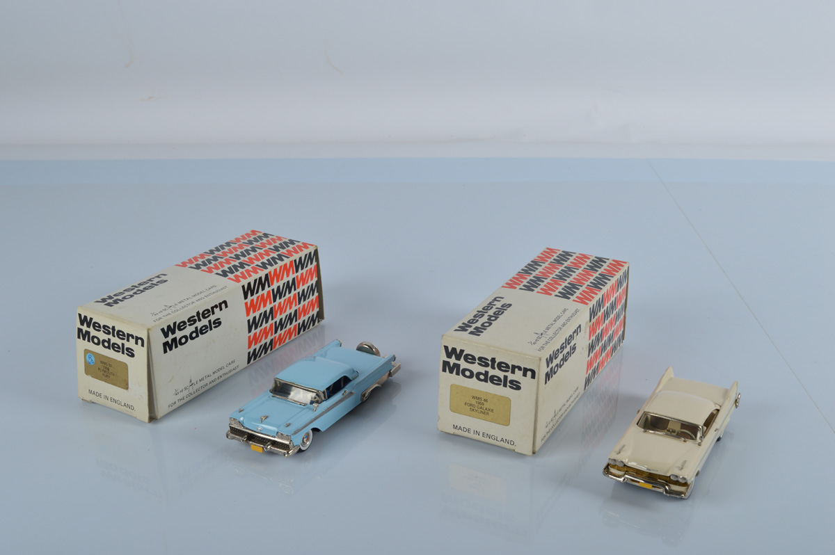Two Western Models, WMS 50 1958 Plymouth Fury, WMS 46 1959 Ford Galaxie Skyliner, both boxed (2)