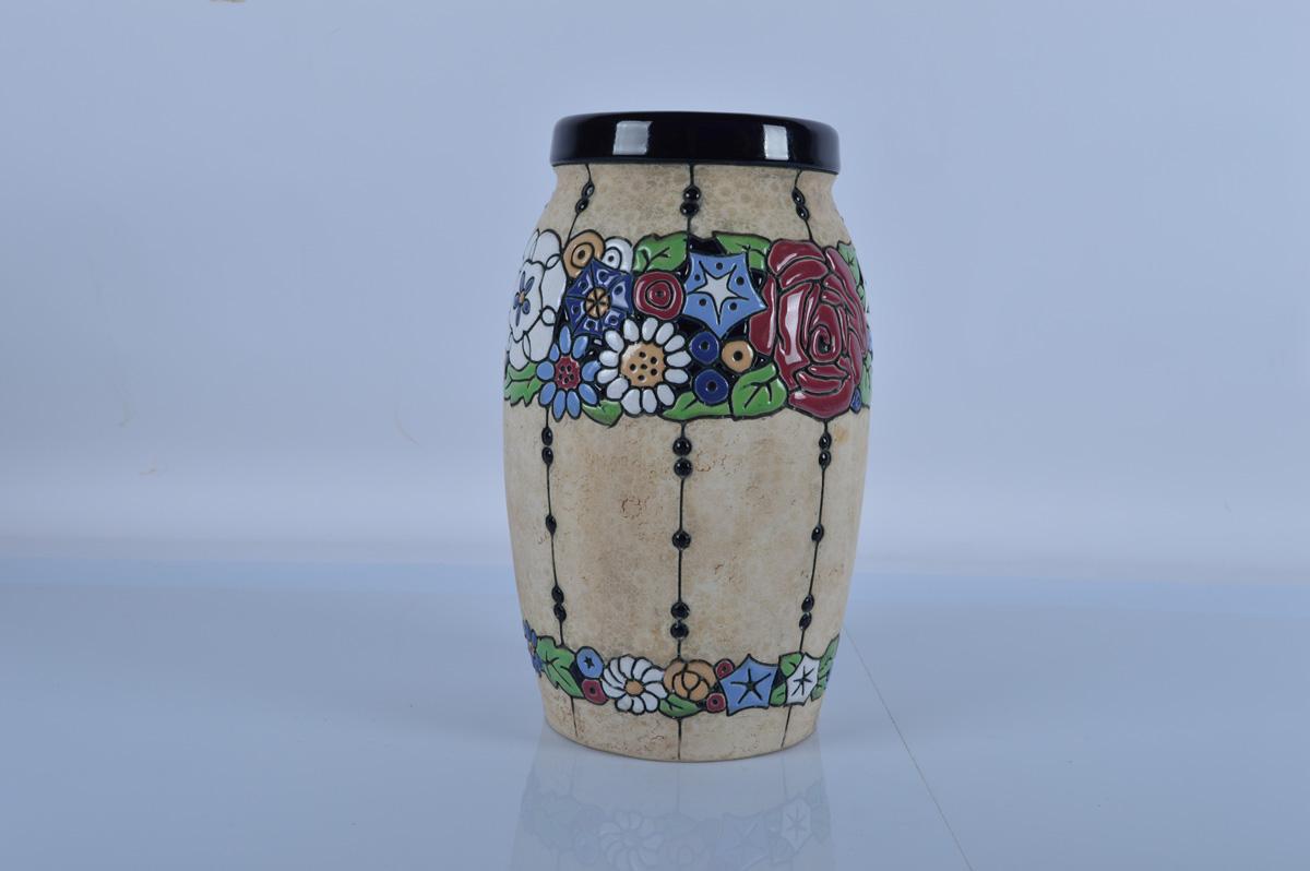 A large Amphora Czecho-Slovakia art pottery vase, large baluster form, 34cm high