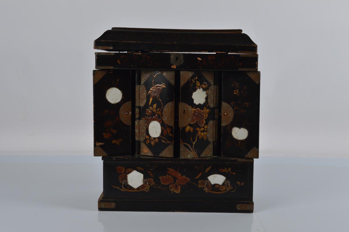 A Japanese shibayama inlaid table cabinet or desk tidy, 35cm high, af