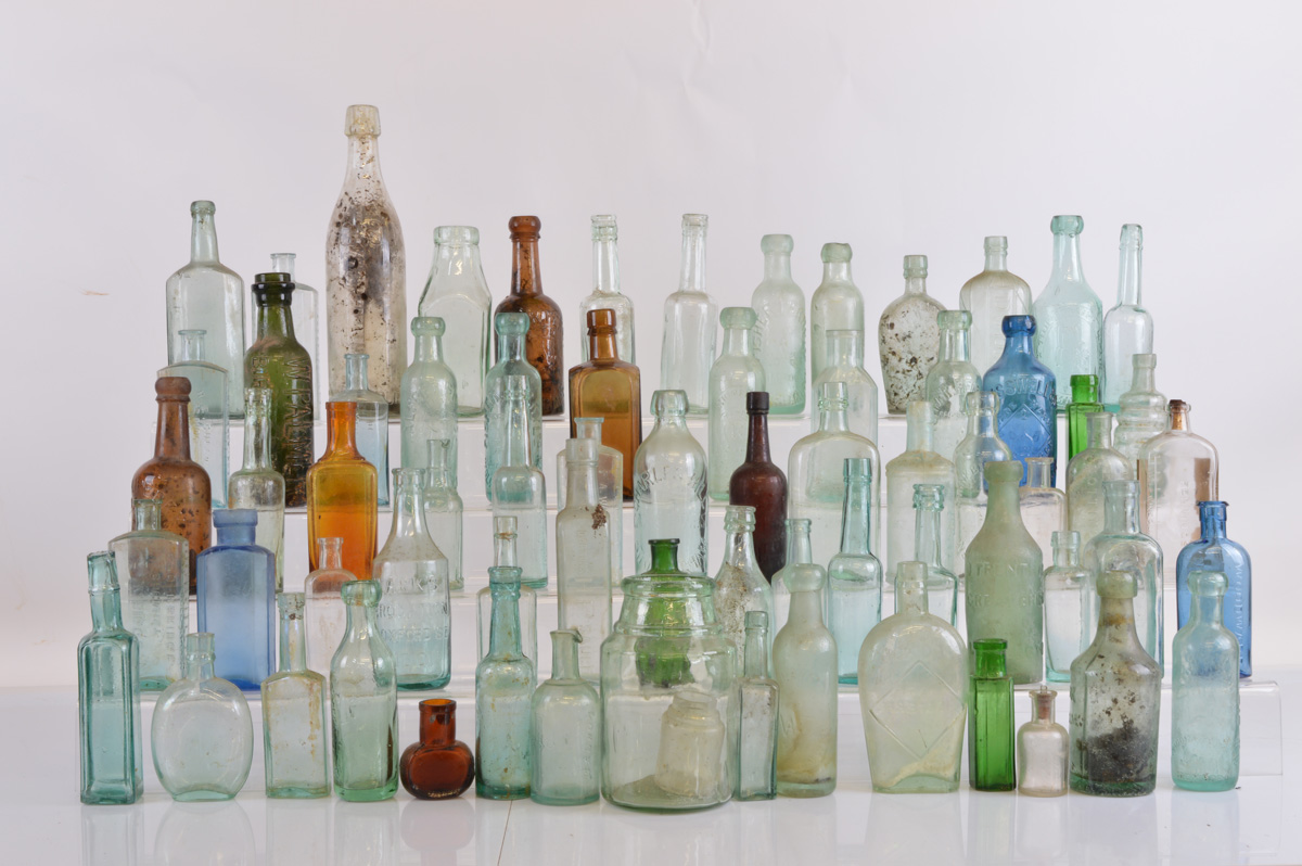 A large collection of miscellaneous 19th century bottles, of various sizes and shapes including a