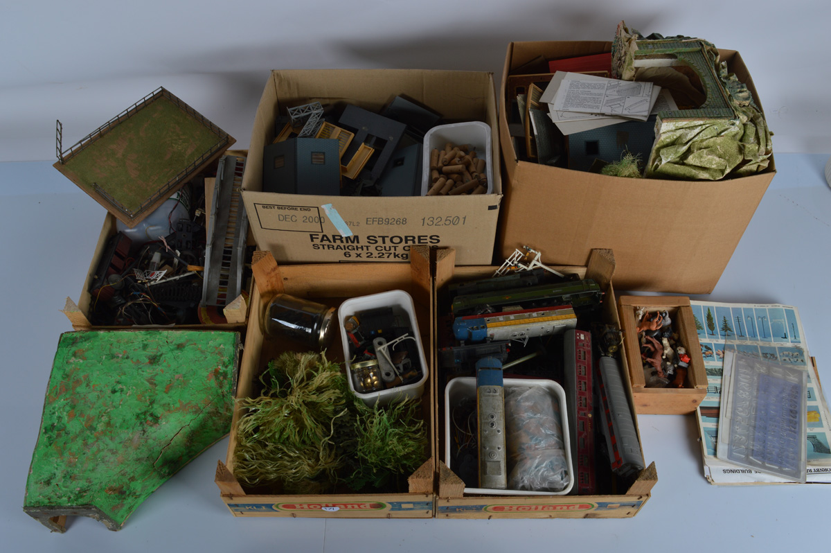A large quantity of model railway accessories, including buildings, track, foliage, etc. Together