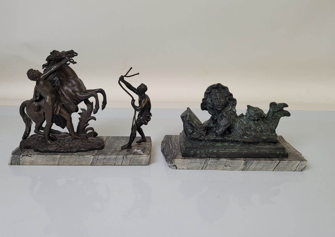 A bronzed Marley Horse group, set on marble base, 20cm tall. Together with a verdigris effect figure
