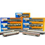 Continental HO Gauge Coaching Stock, various examples includes DB turquoise and cream examples