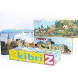 Kibri and Vollmer Z and N Gauge Kit Layout Model Buildings, four boxed unmade sets Z gauge B-6852