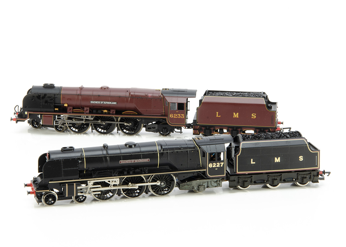 Pair of Hornby 00 Gauge unboxed LMS Coronation Class Locomotives, maroon 6233 'Duchess of