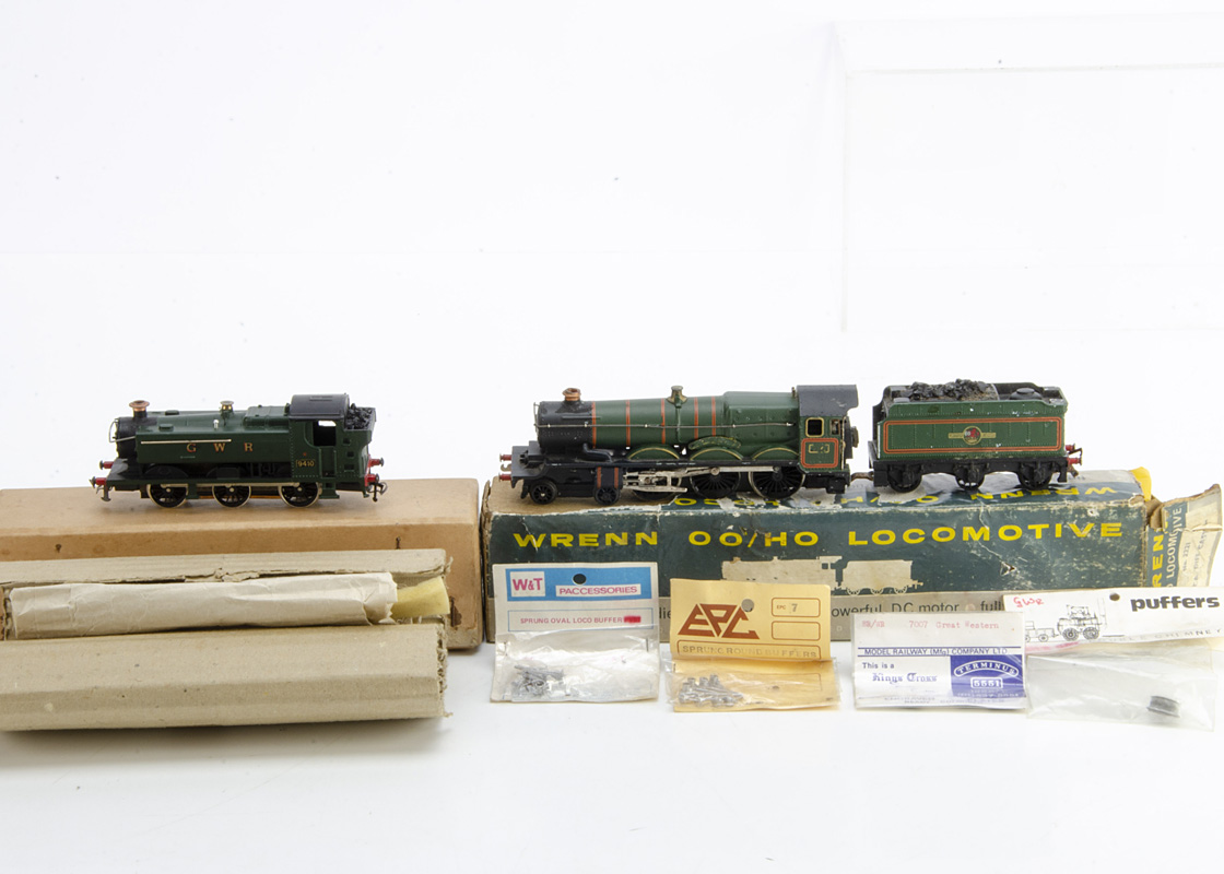 Graham Farish and Wrenn 00 Gauge GWR Locomotives, GF GWR green 0-6-0 Pannier Tank, VG, smokebox
