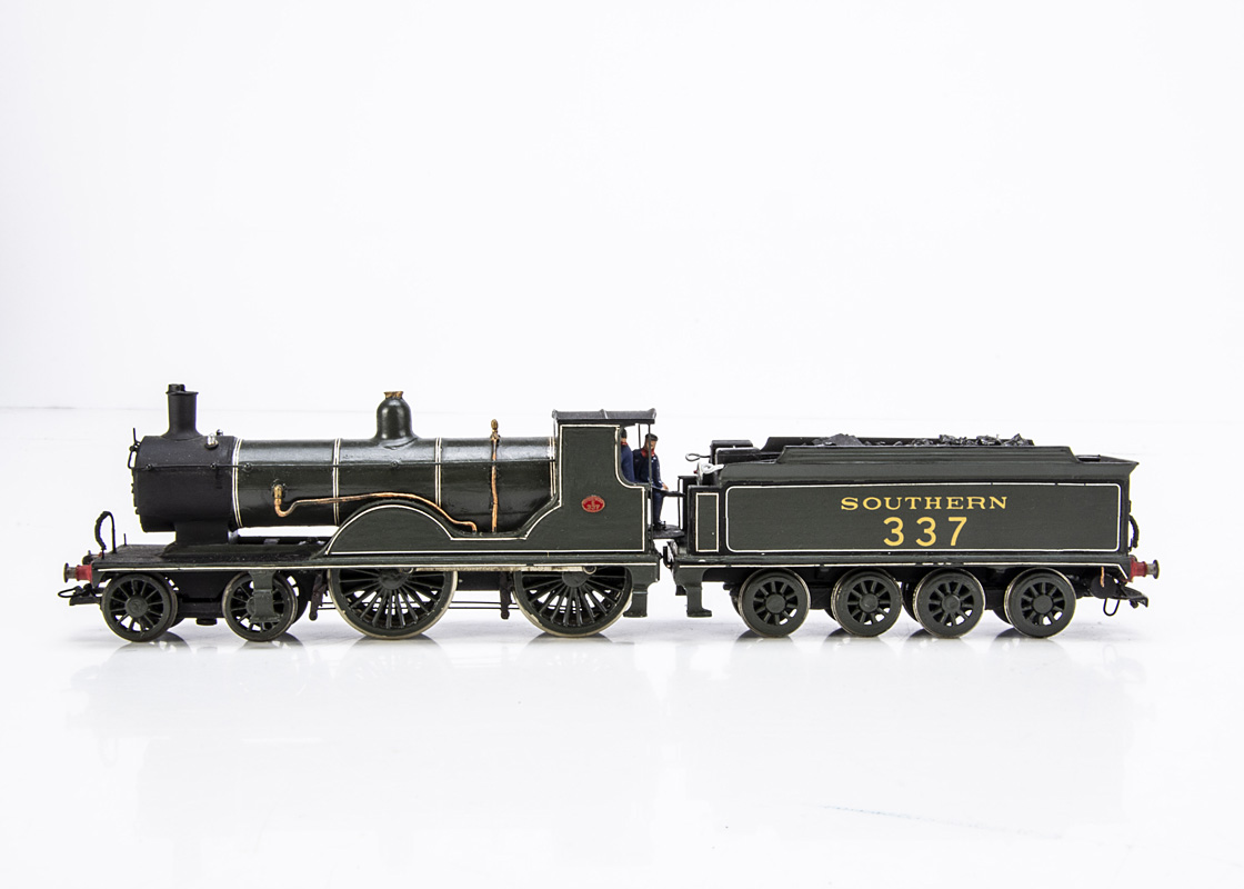 A Kit-built 00 Gauge ex-LSWR 'T9' class 4-4-0 Locomotive and Tender, neatly made from a Wills