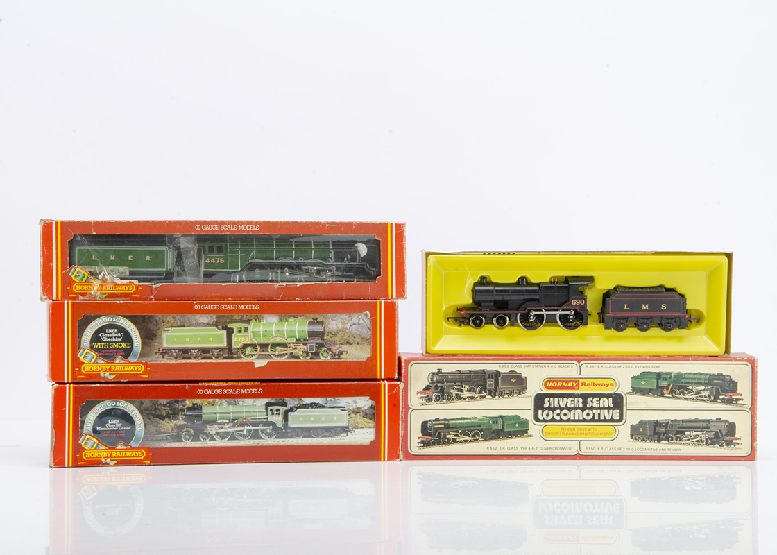 Hornby (Margate) OO Gauge Steam Locomotives and Tenders, five boxed examples, LNER R378 Class D49