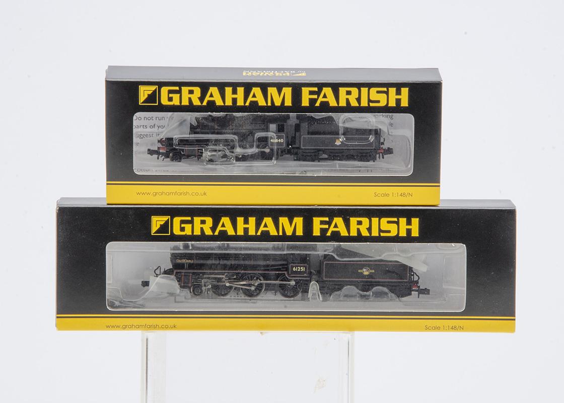 Bachmann Graham Farish N Gauge BR black Locomotives and Tenders, 372-626 Ivatt Class 2MT 46440 and