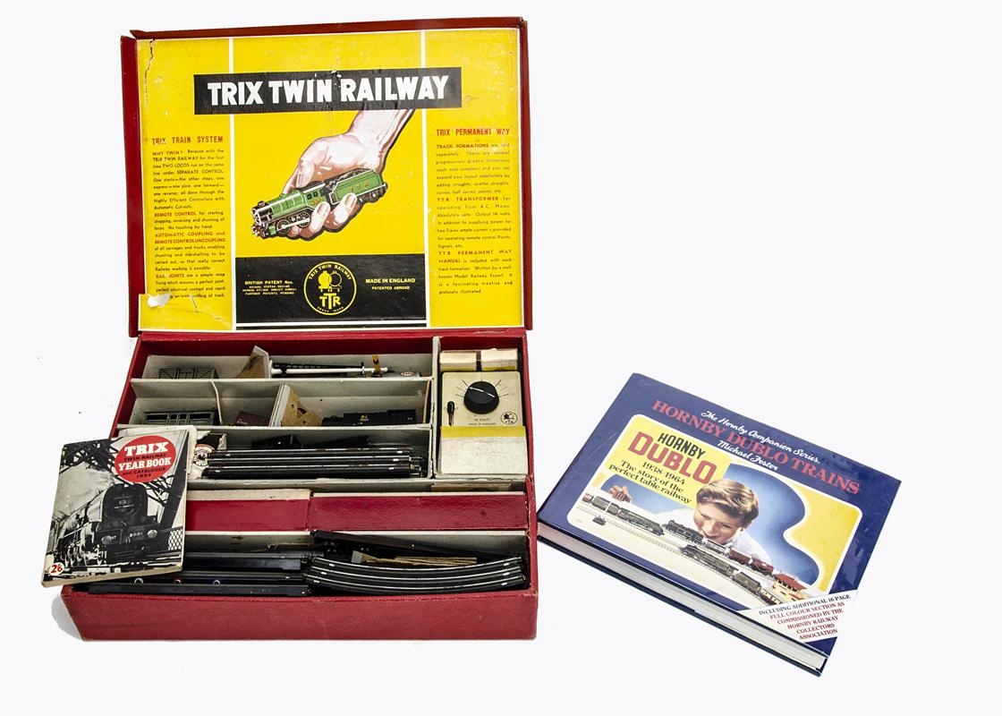 Trix 00 Gauge Goods Set and Michael Foster's Hornby-Dublo Book, Set comprising BR black metal 0-4-