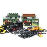 Faller S Gauge Toy PlayTrain Set, including unboxed 0-6-0 black Locomotive 3764, 3634 Goods Wagon