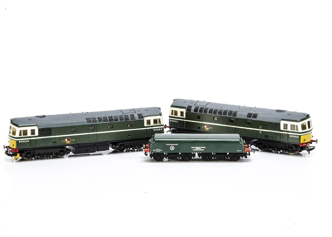 Pair of Lima 00 Gauge repainted/renumbered BR green Class 33 Diesels and scratch/kit built Diesel