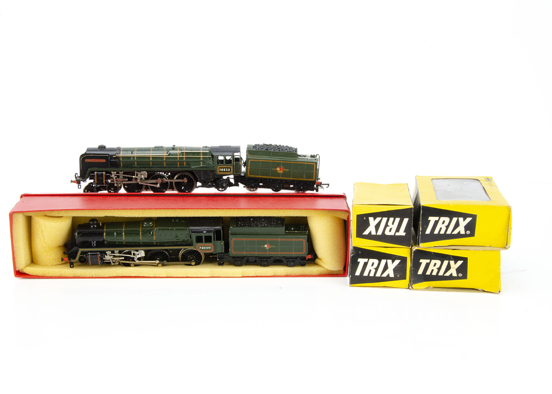 Modified Trix 00 Gauge DC BR Standard Class Locomotives and Wagons, A 'Britannia' repainted and