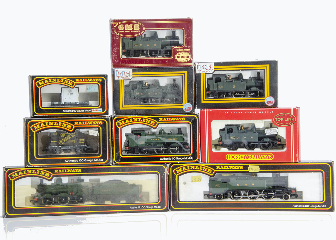 OO Gauge GWR Steam Locomotives and Goods Wagons, a boxed group comprising Mainline 54156 2301 Dean
