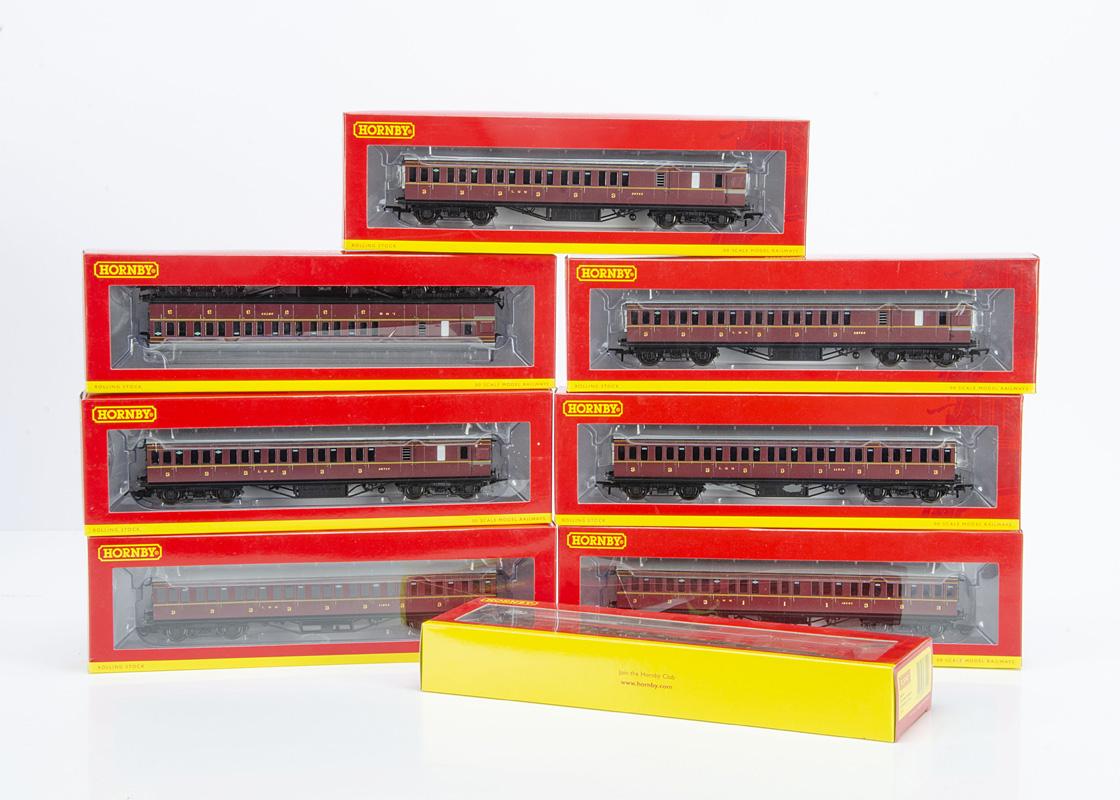 Hornby 00 Gauge LMS crimson Non Corridor Coaches, R, 4656, A, 4657, A, 4677, A, B & C, three with