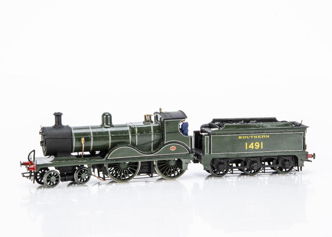 A Kit-built 00 Gauge ex-SECR Wainwright 'E' class 4-4-0 Locomotive and Tender, from a South-