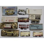 A Collection of 00 Gauge Trams and Tram Kits, made-up BEC 2-axle closed-top car and London E/1