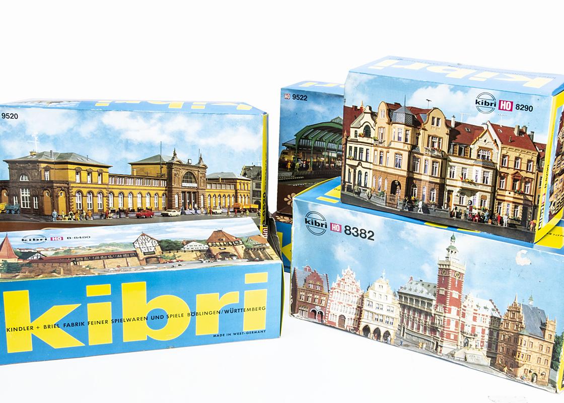Kibri HO Gauge Layout Model Building Sets, a boxed group of unmade kits comprising B8382 buildings