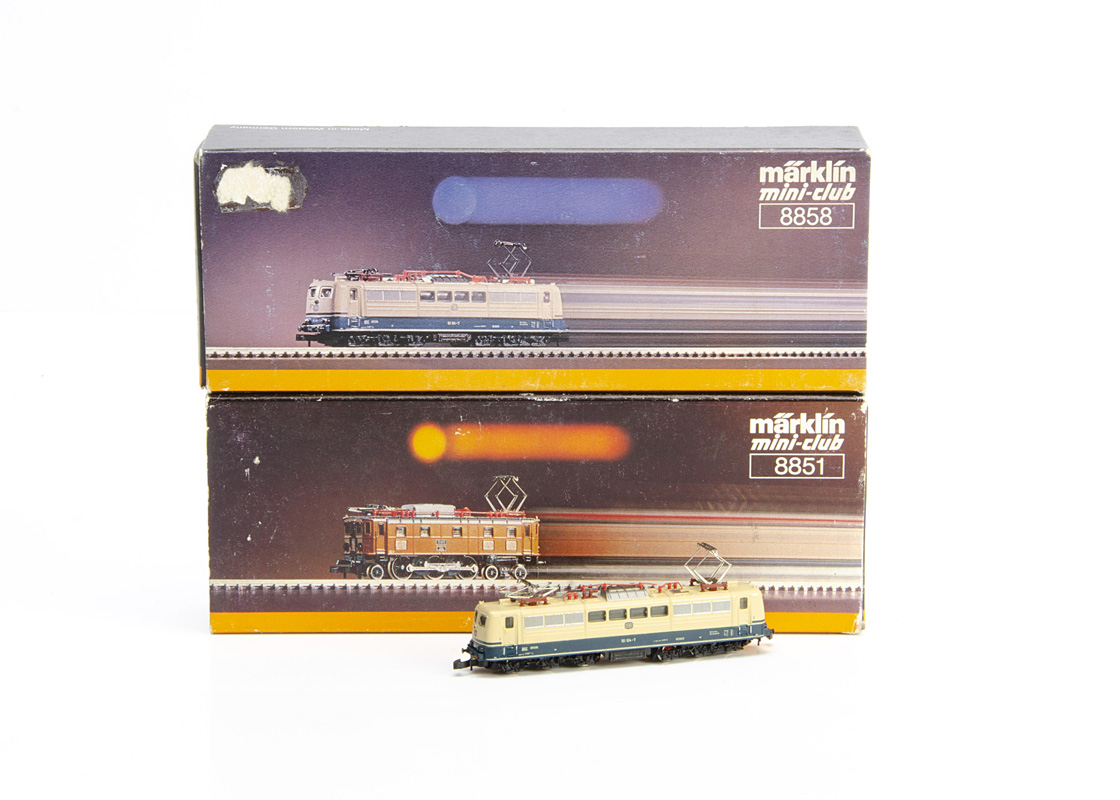 Märklin Mini Club Z Gauge Electric Locomotives, two boxed examples 8858 Ae 151 104-7 of the DB in