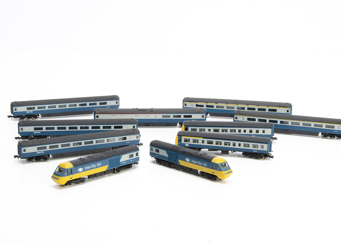 BR N Gauge DMU and Class 43 High Speed Train, all unboxed a Graham Farish two car DMU and Class 43
