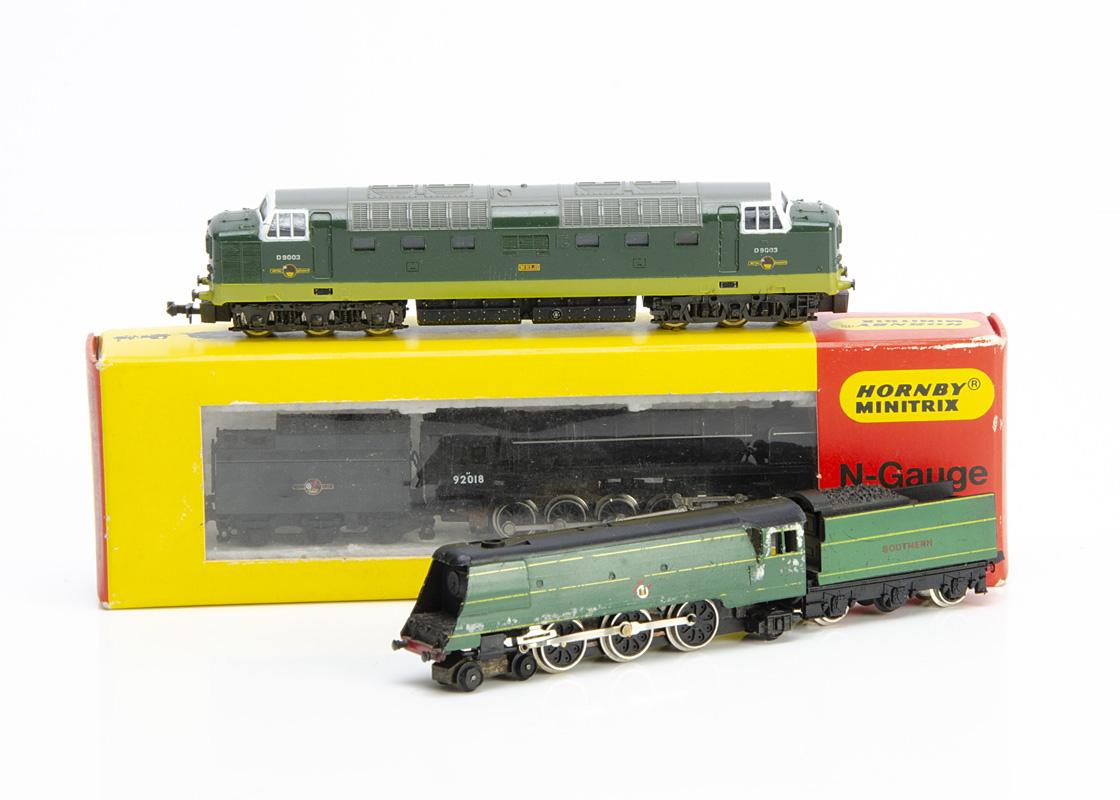 N Gauge Steam and Diesel Locomotives, three examples steam locomotives with tenders boxed Minitrix