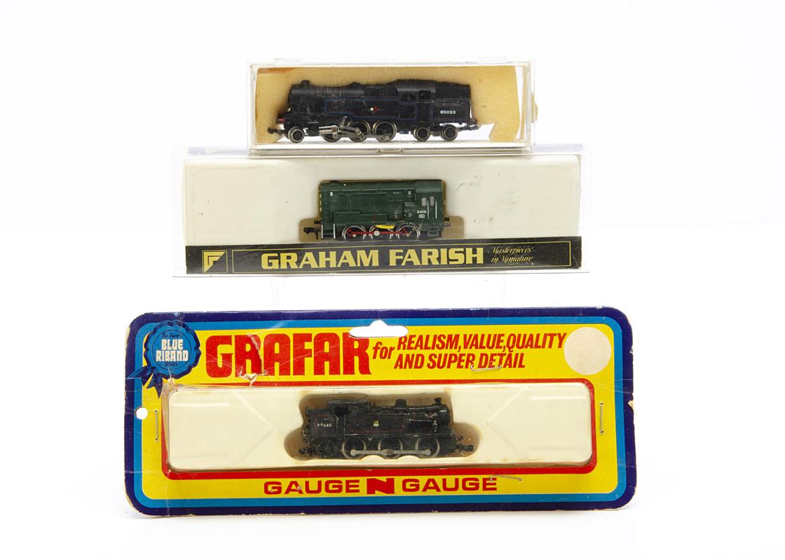 Wrenn and Graham Farish early N Gauge BR Locomotives, Wrenn 252 black 2-6-4T 80033 and Grafar Blue