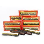 Tri-ang Hornby OO Gauge GWR and LMS Coaches, includes GWR chocolate and cream R027 Brake (5) three