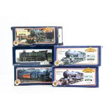 Bachmann OO Gauge Steam Locomotives, five boxed examples, locomotives with tenders 31850 J39 1974 in