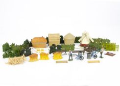 A collection of lead farm accessories and people etc comprising Britains stacked wheat sheaves,
