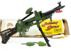 Topper Toys Johnny Seven OMA One Man Army rifle, comprising gun with Grenade, Rocket, two green