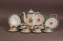 An Art Deco Royal Doulton pottery Lowestoft Bouquet pattern part coffee service, coffee pot, six