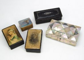 Five Victorian and later boxes, including three snuff boxes in papier mache, a small stamp box and a