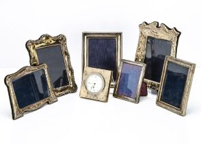 Six modern silver mounted photograph frames, one of golfing interest, 24cm, together with a modern