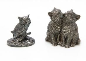 A pair of modern silver filled pussy cats, circa 1960, modelled as a pair of kittens, 6.5cm high