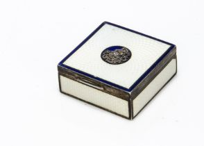 A small late 19th century continental white metal and enamelled pill box, 4cm, 2.4 ozt, square