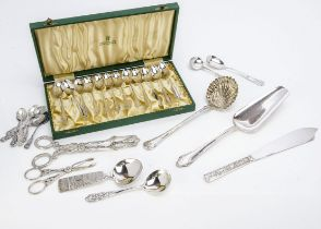 A set of twelve vintage Swedish silver coffee spoons in box, together with a box of various