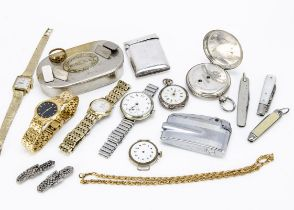 A small group of silver and other collectables, including silver hunter pocket watch, AF, lacks
