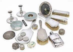 A collection of silver and silver plate and other items, including a dressing table set, a