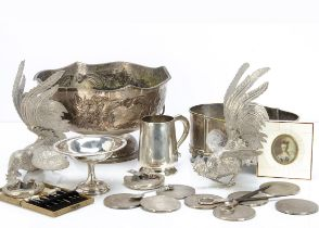 A collection of silver and silver plate and other items, including a set of six silver picks with
